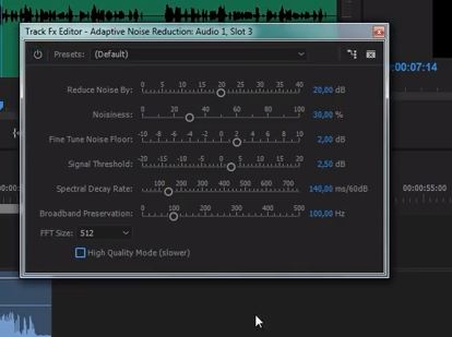 premiere pro убрать шум звука