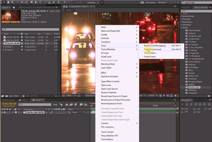 видео наоборот в After Effects