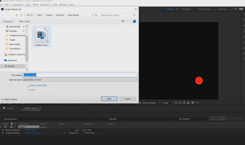 как экспортировать файл из after effects
