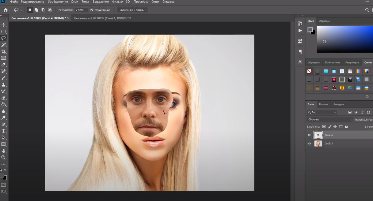 как наложить другое лицо в фотошопе