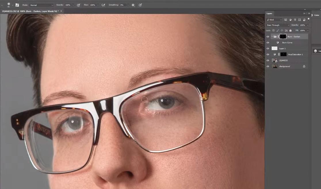 убрать отражение в очках в фотошопе
