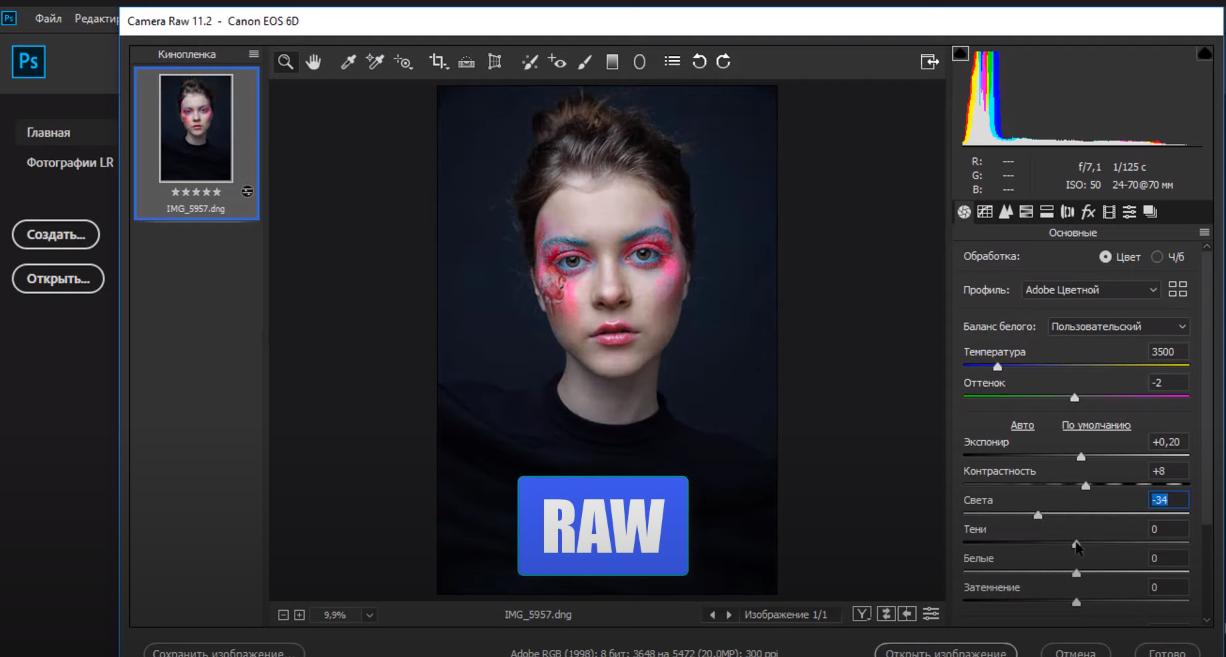 camera raw в фотошопе